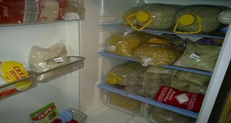 крупы в холодильнике