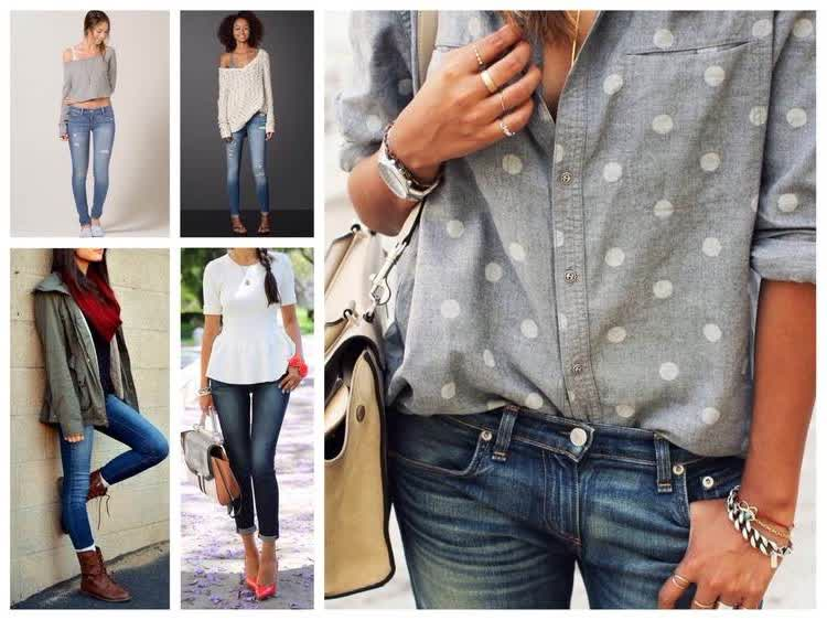 варианты с чем носить скинни джинсы