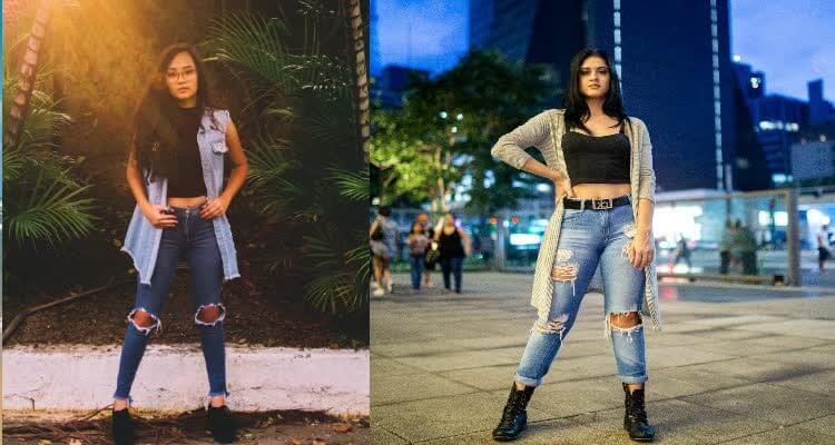 Разорванные джинсы скинни голубые