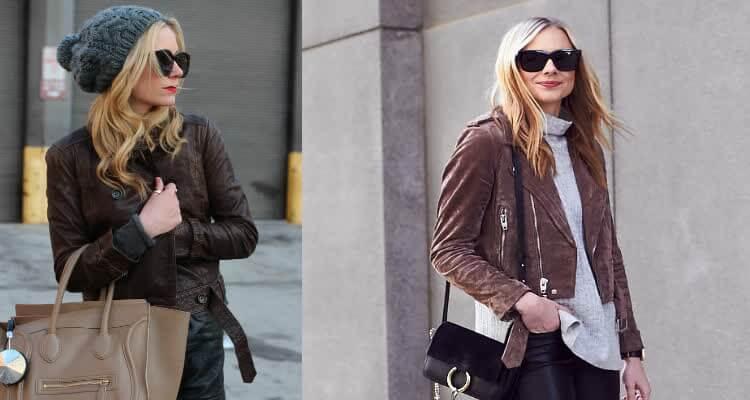 коричневая кожаная куртка женская с кожаными брюками