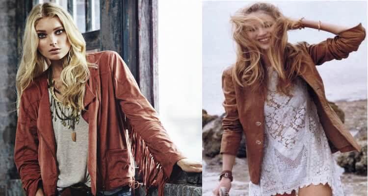 коричневая кожаная куртка для ярких женщин