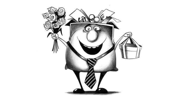 Мужчина в галстуке с подарком и цветами